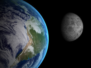 3D rendering Earth and  Moon on a black background, high resolut