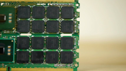 Computer ram chips on circuit boards.