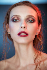 Beauty portrait of young woman nice day makeup