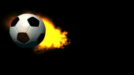 Feuriger Fußball vor schwarzem Hintergrund