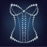 Lady's sexy corset made from diamonds