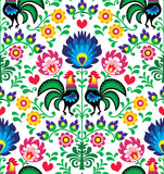 Seamless traditional floral Polish pattern - Wzory Łowickie