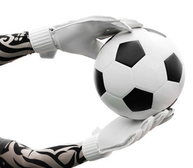 Goalkeeper's hands catching the soccer ball on white background