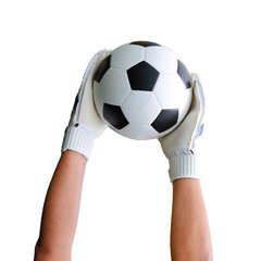 Goalkeeper's hands catching soccer ball on white background path