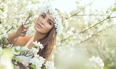 Beautiful woman in the garden