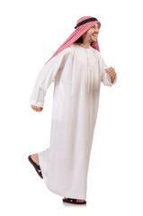 Hurring arab man isolated on white