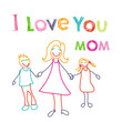 I love you mom doodle card