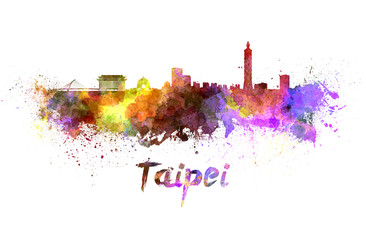 Taipei skyline in watercolor