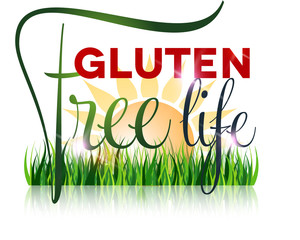 Gluten free diet text and grass at the front, sun at the backgro