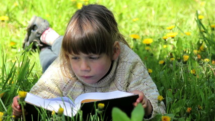Boy reading a book ,Child reading a book in the park