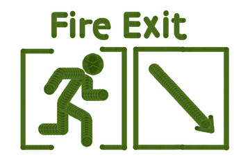 Fire exit.( Icon form leaf concept)