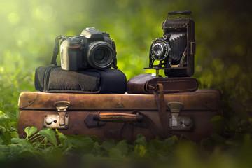 fotocamera e valigia vintage e reflex © zanarinilara