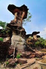 Stone Pillar like mushroom, A famous place in Thailand.