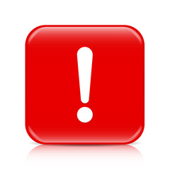 Red exclamation sign, attention button, icon