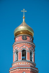 Tower with a clock in  Ascension Monastery in Moscow region