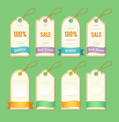 Price and sale tags.