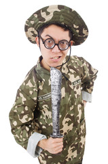 Funny soldier with knife on white