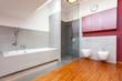 Red and grey modern bathroom