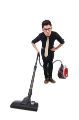 Man with vacuum cleaner isolated on white
