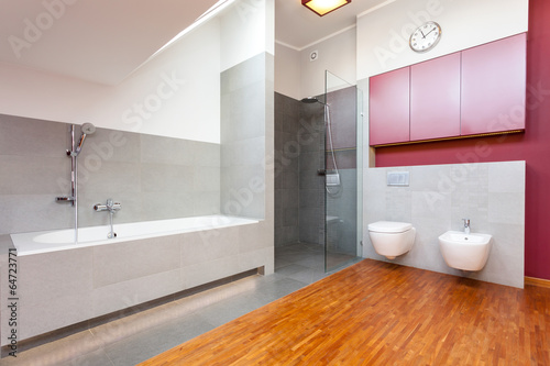 Red and grey modern bathroom
