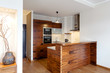 Wooden bar in kitchen