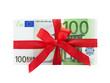 Leinwanddruck Bild - Geldstapel mit Schleife