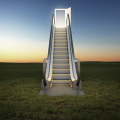 escalator to the sky in night field