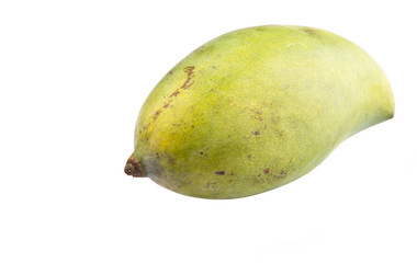 Green mango fruit over white background