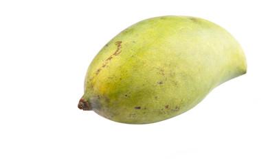 Green mango fruit over white background