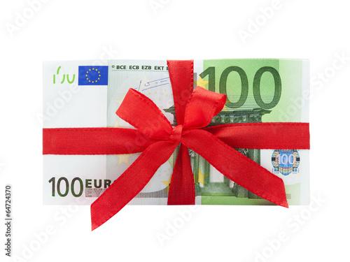 Leinwanddruck Bild Geldstapel mit Schleife
