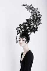 Art. Fancy Futuristic Woman in Fabulous Headdress. Fantasy