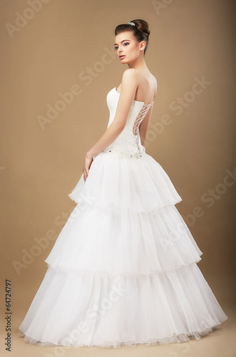 Gorgeous Young Bide in White Wedding Dress