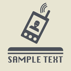 Mobile phone icon or sign, vector