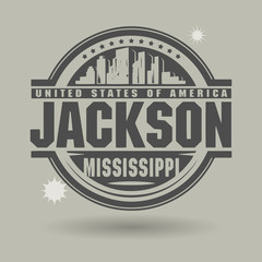 Stamp or label with text Jackson, Mississippi inside