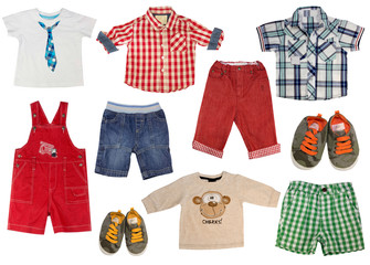 Boy kid  clothes isolated on white.Set of male child clothing.