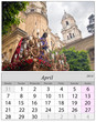 Calendar April 2014. Holy week in Malaga, Spain.