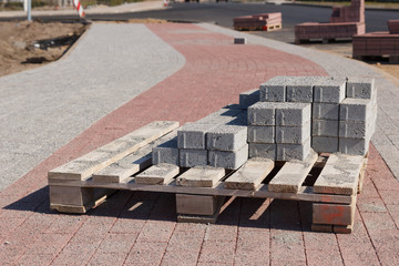 Sidewalk construction bricks