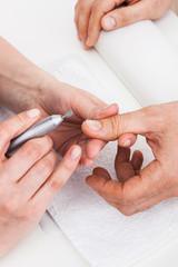 Manicure man close up