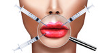 Plastic surgery, injecting Botulinum toxin in lips poster