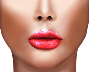 Digital painting of Beautiful Girl with Sexy Lips, close-up