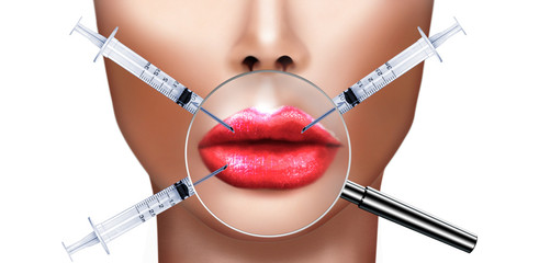 Plastic surgery, injecting Botulinum toxin in lips