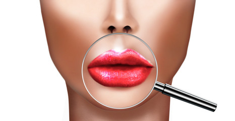 Plastic surgery concept with woman lips magnified