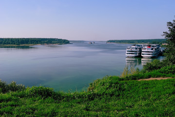 View of the Volga River with two Cruise Liners docked at a pier