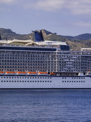 Italy, Sicily, Messina, cruise ship in the port