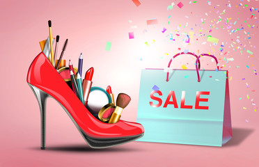 Shoe with cosmetic set and gift bag, discount products for woman