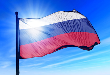 Russia flag waving on the wind
