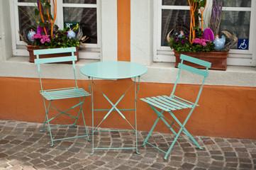 terrasse typique à Colmar, Alsace