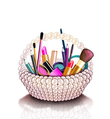 Fashion illustration of a cosmetics set into a pearl basket