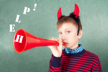 Sad child as Devil playing big pipe asking for help