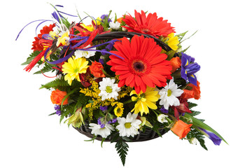 Red Gerbera flowers. beautiful bouquet of colorful spring flower